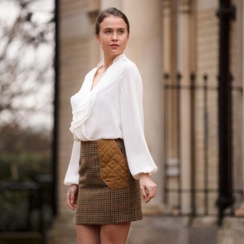 BADMINTON SKIRT Brown Tweed Russet Houndstooth Skirt