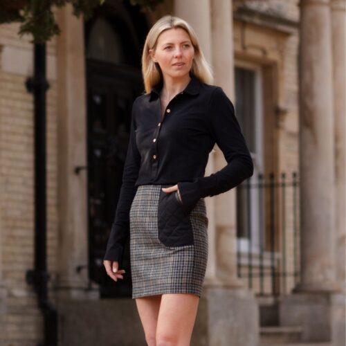 Harris Rae Grey Tweed Skirt - Badminton Skirt in Houndstooth