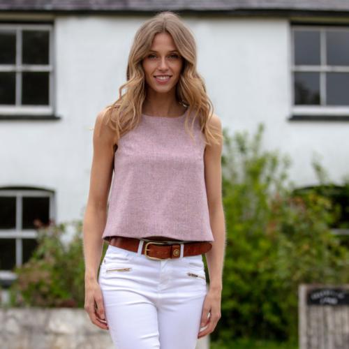 Tetbury pink tweed top by Harris Rae